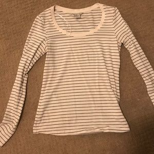 White and black striped long sleeve shirt - H&M